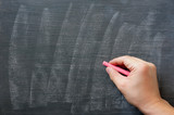 Hand writing on a smudged blank chalkboard with chalk poster