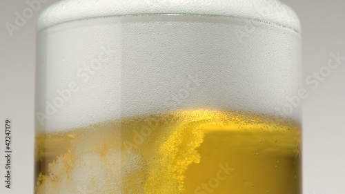 Beer in glass, Close-Up, Slow Motion