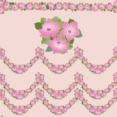 бесшовный фон из розовых цветов петунии, бордюр,Print