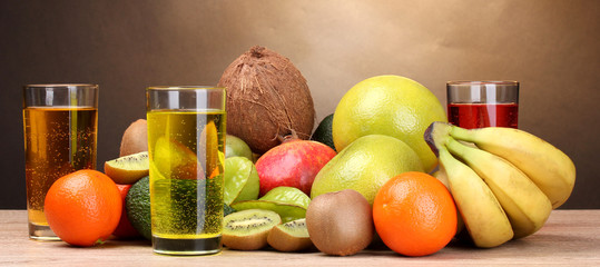 Assortment of exotic fruits and juice