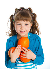 Portrait of happy girl with oranges