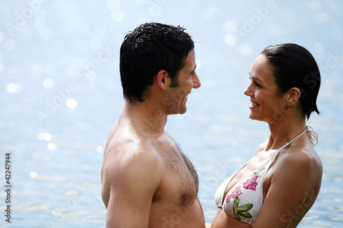 couple in front of the beach