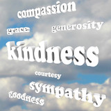 Kindness Words in Sky Compassionate Generous Background poster