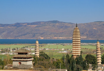 Three famous pagoda's of Dali, Yunnan, China