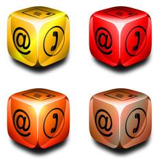 Symbolwürfel Kommunikation gelb, orange, rot, kupfer