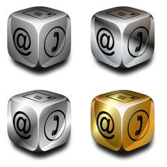 Symbolwürfel Kommunikation, grau, silber, chrom, gold