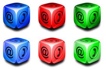 Symbolwürfel Kommunikation rot, grün, blau