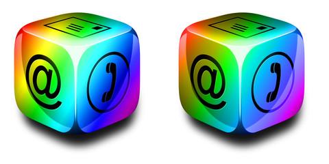 Symbolwürfel Kommunikation regenbogenfarben