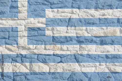 Greek Flag on Rock Wall