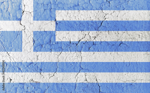 Vintage Paint Greek Flag