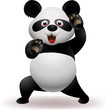 Vector illustration of Funny panda practicing martial art