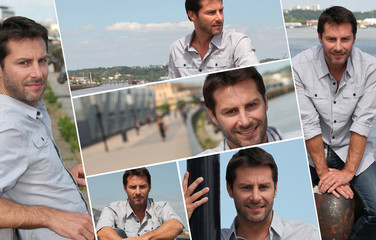 Montage of a man on a promenade