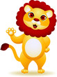 Lion cartoon waving hand
