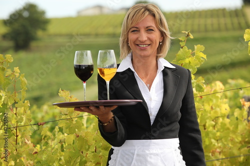 Woman serving red and white wine in a vineyard