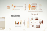 Advertising infographics - icons, graphs, charts and statistics