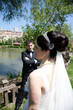 bride and groom at a park 1