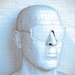 3D Kopf mit Sonnenbrille aus Karo Papier