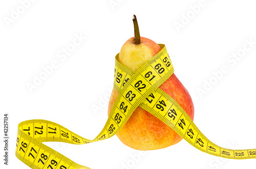 Pear with tape measure.