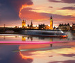 Big Ben with  city boat in London night, UK