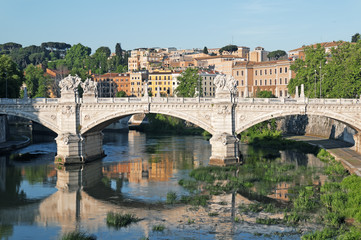 View of Trastevere district in Rome - Italy