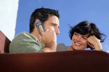 Couple making a special call