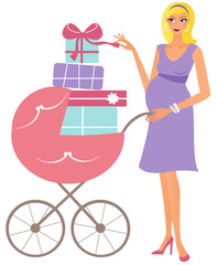 Happy pregnant woman with pink stroller