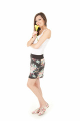 beautiful young woman with calla flower, full length