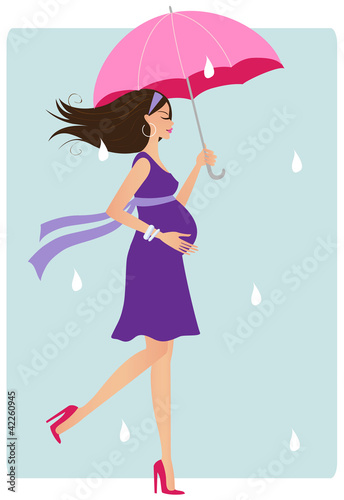 Happy pregnant woman in the rain