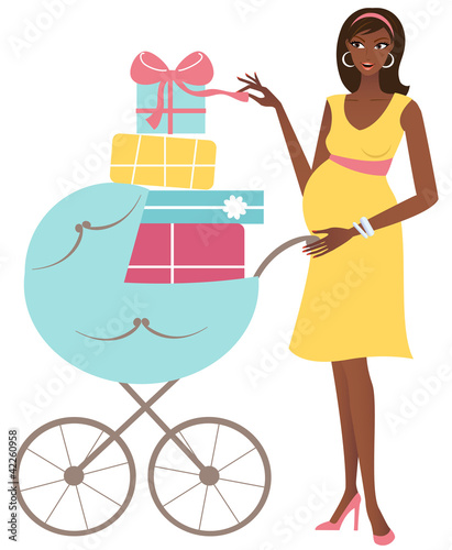 Happy african american mother with baby carriage