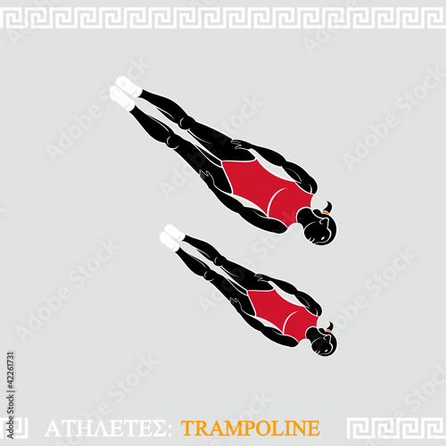 Greek art stylized trampoline gymnasts do acrobatics