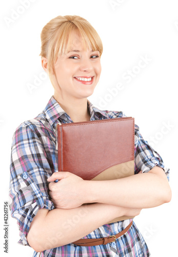 smiling student woman keeping book, white background