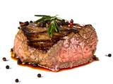 Fototapety Beef steak medium grilled, isolated on white background
