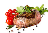 Beef steak medium grilled, isolated on white background