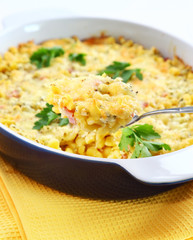 Casserole with pasta and greek cheese