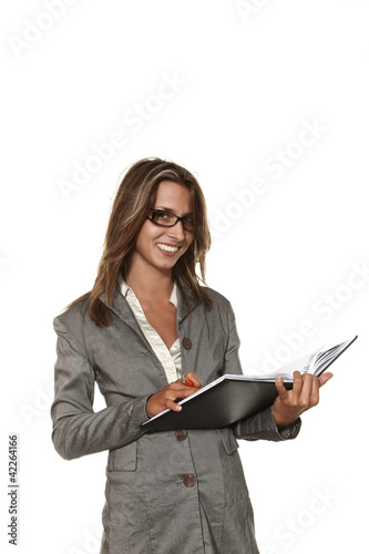 portrait of secretary on white background