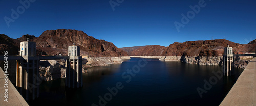 Panoramic water intake towers Hoover Dam, Nevada