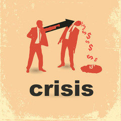 The concept of the financial crisis. Duel of two businessmen.