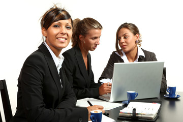 three women, teamwork