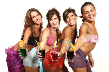 four sexy women with a cocktail