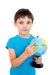 a boy and a Globe