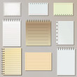 Set of spiral notepad sheets