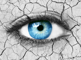 Global warming conceptual image with blue eye