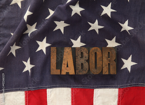 labor word on American flag