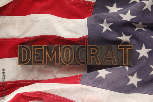 American flag with Democrat word