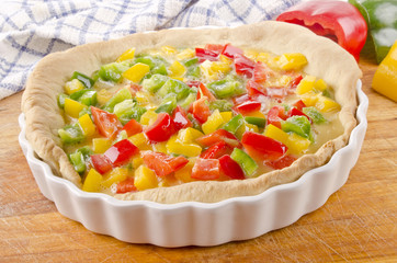 freshly made bell pepper quiche