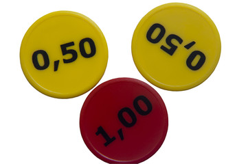 red and yellow badges