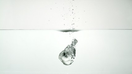 Dropping ice cubes in water, Slow Motion