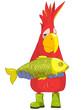 Funny Parrot. Fisherman.