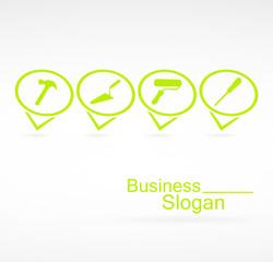 logo outils de bricolage sur signet vert