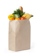 Fresh healthy food in a paper bag, isolated